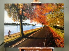 My Oil painting of the autumn trees at the lakes in Copenhagen. We're standing at Fredensbro looking west towards Dronning Louises Bro. Oil on canvas, 70 x 50 cm. See more of my paintings at jonaslinell.com  Cheers, Jonas  #art #artist #jonas #linell #painting #oil #canvas #autumn #copenhagen #sky #water #lakes #trees #spires #kunst #maleri #olie #lærred #københavn #østerbro #nørrebro #fall #leaves #trees #city #bicycle #running