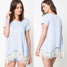 SAVANNAH Lace Trim Soft Tee - SKY BLUE Lace Trim Soft Tee. Available in LATTE, peach & sky blue. All 3 colors are more rich & vibrant in person, these pics were taken under bright light. Pls see pic 4 for actual color.  Fabric 65% RAYON 35% POLYESTERPRICE FIRM Bellanblue Tops Blouses