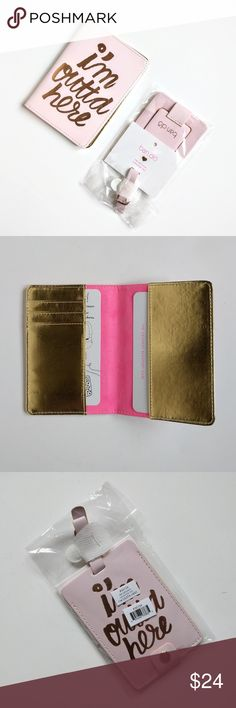 ban.do I'm Outta Here Passport Cover & Luggage Tag Make your next getaway even more fun with these accessories from ban.do! Both are pale pink with rose gold foil embellishments. Passport case has room for three cards as well. Sorry, no trades. ban.do Accessories