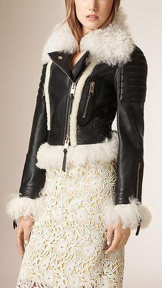 Noir Perfecto en cuir d'agneau avec bordure en shearling - Image 1