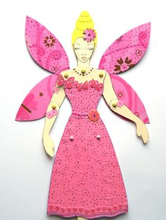 Fairy Princess Doll, Fairy Paper Doll, Jointed paper Doll, Fairy Princess paper Doll, Articulated paperdoll, Pink fairy paper Doll, Handmade - pinned by pin4etsy.com