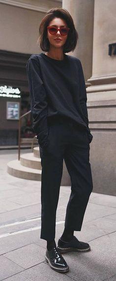 Schwarze Mode Inspiration / Top + Hose + Stiefel - Another! Fashion Mode, Look Fashion, Trendy Fashion, Autumn Fashion, Womens Fashion, Fashion Trends, Fashion Black, Fashion Ideas, Classy Fashion