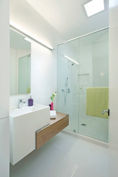 Bathrooms: Minimalist Floating Vanity With Mirror And LED Lights For Modern Bathroom In Small Space Bathroom Vanity Lighting Ideas Vanity Lighting Ideas for Bathroom Bathroom Lighting Ideas | Rowcdesign.com