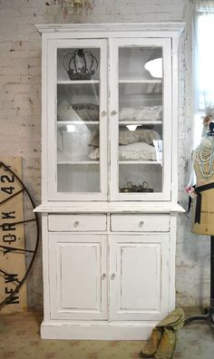 Painted Cottage Chic Shabby  Farmhouse Cabinet by paintedcottages, $745.00