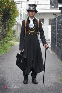 Hisahiko Akaza wearing steampunk attire in Harajuku, Tokyo Style Steampunk, Steampunk Men, Steampunk Costume, Victorian Steampunk, Steampunk Clothing, Steampunk Fashion, Gothic, Asian Steampunk, Japanese Streets