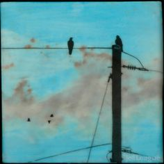 Birds on a wire mixed media encaustic photo transfer by Jeff League.