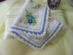 Something Blue Bridal Handkerchief/ Bouquet Wrap/ by LaceyThings, $10.50