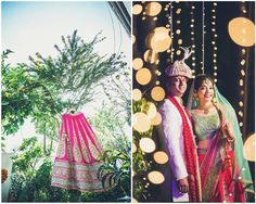 A fushia lehenga with gold work and a mint green border paired with a mint green blouse and two matching dupattas by Frontier Raas for Bride Mansi of WeddingSutra. Photos Courtesy- Photoshastra