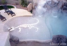 Pool-Dinosaur - OK. While the misted pool is cool, I LOVE the dinosaur embedded in the cement per a Phoenix, AZ pool builder.