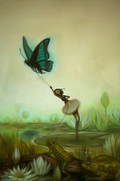 Thumbelina - Painting by Krista Huot, Sweet print for a baby girl room