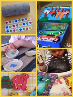 Sensory fun...   I like the sensory bags with cute tape around it and Neon bowling... lots of other cute ideas too!
