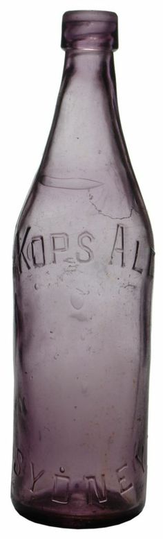 Kops Ale Sydney. Tall internal thread type soft drink bottle. c1910s Glass Bottles, Drink Bottles, Soft Drink, Purple Amethyst, Carafe, Sydney, Ale, Auction