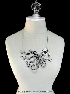 "An Octopus Love Affair Necklace - Large 6"" Ink Splatter - Laser Cut Acrylic (C.A.B. Fayre Original Design). $28.00, via Etsy."