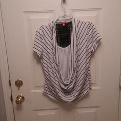Trendy Top Black and white top with lace back Tops