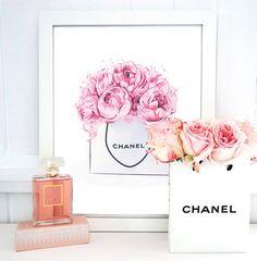 Chanel wall art, fashion illustration, chanel logo, wall decor, typography art…
