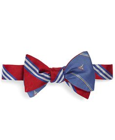 Social Primer Reversible Bow Tie: BB#1 Repp Stripe and Sailboat Stripe   Brooks Brothers
