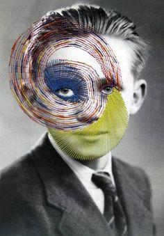 Embroidered Photographs by Maurizio Anzeri Distortion Photography, Mixed Media Photography, Art Photography, Surrealism Photography, Photocollage, A Level Art, Identity Art, Italian Artist, Pics Art