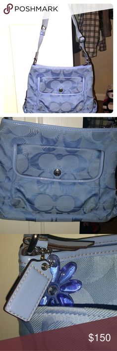 COACH BAG My VERY 1st COACH BAG . I love the baby blue it's so beautiful. Needs to be cleaned. But overall it's a one-of-a-kind👛♥️ COACH Bags Shoulder Bags