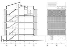Shophouse Transformation by all(zone) Concrete Facade, Concrete Bricks, Metal Mesh Screen, Industrial Office Design, Shophouse, Dezeen, Bangkok, Floor Plans, Flooring