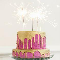Beautiful birthday cake idea! #pink #gold #sparkler