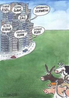 German insults - animals looking on rather shocked.