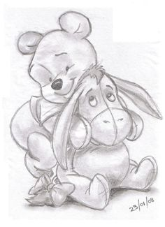 Winnie the pooh and eeyore sketches of girls, drawings of girls, disney drawings sketches Disney Drawings Sketches, Cartoon Drawings, Cute Drawings, Drawing Sketches, Drawing Ideas, Simple Disney Drawings, Sketching, Disney Pencil Drawings, Disney Character Sketches