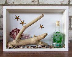 Coastal Shadow Box with Sea Glass, Driftwood, Seashells and Starfish