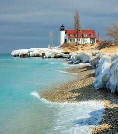 "March Thaw"" Point Betsie Lighthouse - Crystallia, Michigan."