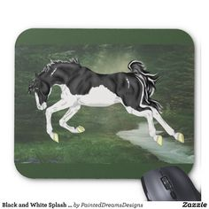 Black and White Splash Overo Horse Mouse Pad