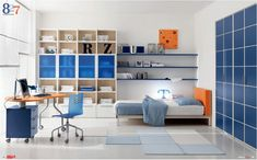 Dielle White Based Kids Rooms with Colorful Furniture : Awesome White Based Kids Room with Blue Large Closet and Movable Study Desk and Chair