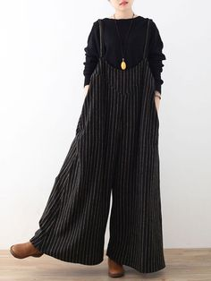 Plus Size Casual Women Stripe Wide Leg Pants Playsuits #diypantsplussize