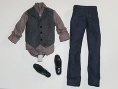 KEN Doll Clothes SHIRT DARK JEANS and BLACK SHOES Fashion FREE SHIPPING #Mattel