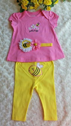 Cute little Bumble Bee BabyOutfit with matching Headband  Headband measures 13in.  Bee on pants actually goes in the back  Would make a cute baby shower gift