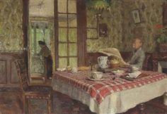 Artwork by Édouard Vuillard, La lecture dans la salle à manger, Vaucresson, Made of oil on board