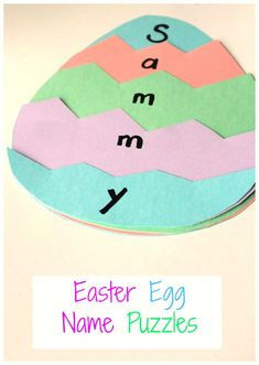 A great Easter activity for preschoolers - and Easter Name Puzzle! art prek Easter Egg Name Puzzles - How Wee Learn Easter Arts And Crafts, Preschool Arts And Crafts, Arts And Crafts For Adults, Daycare Crafts, Crafts For Boys, Toddler Crafts, Name Activities Preschool, April Preschool, Easter Activities For Kids