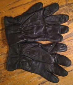 bcb5f785a7e76 VTG Men's Insulated Genuine Leather Gloves, Light Fleece Lining Winter,Black
