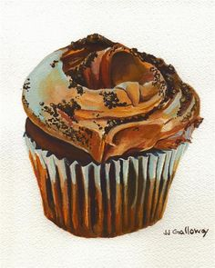 Original art for sale at UGallery.com | Chocolate Cupcake by JJ Galloway | $275 | watercolor painting | 7.5' h x 7.5' w | http://www.ugallery.com/watercolor-painting-chocolate-cupcake
