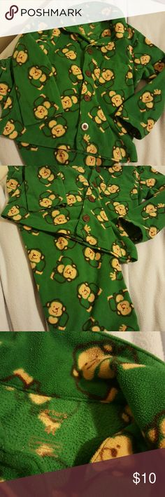 Monkey fleece pajamas 4T Carter's Green fleece monkey print pajamas boy or girl 4T Carter's.  Hole and stain free. Carter's Pajamas Pajama Sets