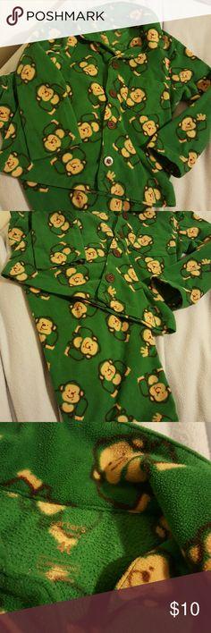 Monkey fleece pajamas 4T Carter's Green fleece monkey print pajamas boy or girl 4T Carter's.  Hole and stain free. Carter's Pajamas Pajama Sets