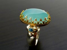Crown Ring  Set With Aqua Colored Chalcedony & Blue Diamonds
