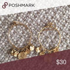 Gold Hoop Earrings New Anthropologie Earrings; never worn Anthropologie Jewelry Earrings