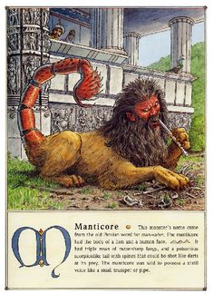 Glanced at this and saw angry flute playing. Magical Creatures, Fantasy Creatures, Monster Names, Manticore, Supernatural Beings, Legendary Creature, Arte Horror, Mythological Creatures, Gods And Goddesses