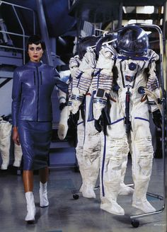 """Space Flight"": Natalia Semanova Plays with Cosmonauts by Arthur Elgort for Russian Vogue"