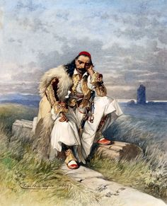 Cesare Felix Georges Dell Acqua (1821-1904)-The nobleman Anagnostis Giannoulidis, 1860 Albanian Culture, Greece History, Greek Warrior, Central And Eastern Europe, Greek Art, Cool Paintings, Ancient Greece, Mythology, Folk