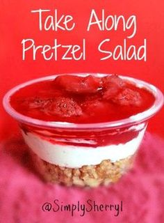 Take Along Pretzel Salads - Food that travels well. These are just too easy to make and are great to take on picnics, toss in a lunch box, or to carry to a fellowship meal.