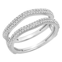 Carat (ctw) Gold Diamond Ladies Anniversary Wedding Band Enhancer Guard Double Ring CT ** See this awesome image : Wedding Ring Enhancers Wedding Ring Enhancers, Engagement Ring Enhancers, Engagement Rings, White Gold Wedding Rings, Gold Diamond Wedding Band, Womens Wedding Bands, Wedding Rings For Women, White Gold Diamonds, Round Diamonds