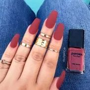 Brown Red Fake Nails Matte Metal Manicure French Long Design Full Cover False Nails with Metal Side Nail Tips - Cute Nails Club Dark Nails, Red Nails, Burgundy Nails, Oval Nails, Cute Acrylic Nails, Acrylic Nail Designs, Acrylic Nails Autumn, Fingernail Designs, Gorgeous Nails