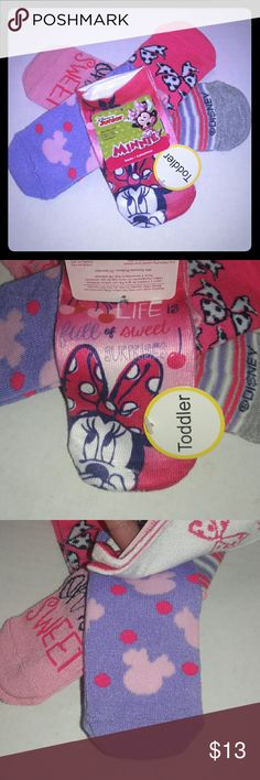 Minnie Mouse Socks 5 pairs of Minnie Mouse toddler socks ... 10 sucks in all with adorable Disney Minnie Mouse patterns and cute sayings ... all designs shown in pictures ... any questions please ask! PERFECT for your DISNEY lover :) Disney Accessories Socks & Tights