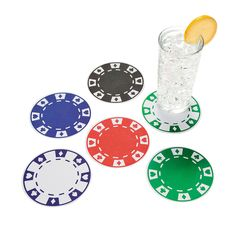 12 Poker Chip Coasters - OrientalTrading.com $3