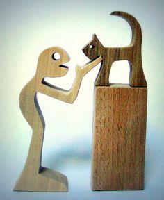 hauteur : humain (12cm) chat (6cm) socle (8cm) épaisseur : 2cm le personnage est en érable, le chat en noyer, le socle en hêtre Le mot chat vient du bas latin cattus, qui, - 20178370